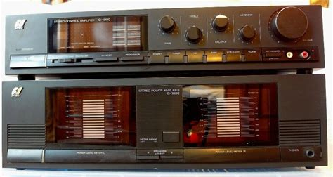 SANSUI C1000 & B1000 Pre and Power Amplifiers | in Wood