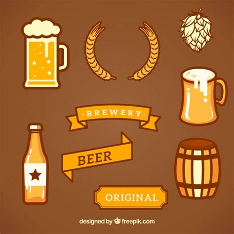 Collection of Brewery Design Elements Vector | Free Download