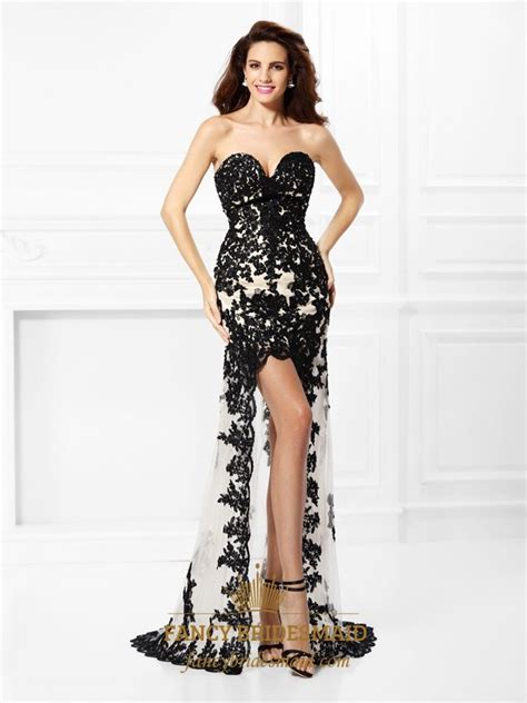 Black Sweetheart High Low Appliques Satin Prom Dress With