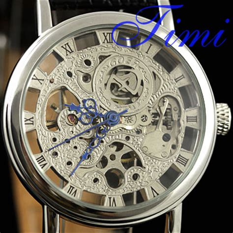 Mens See Through Skeleton Watches Silver Blue – Wholesale